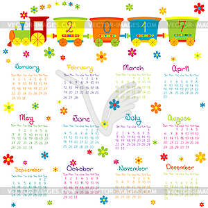 2017 Calendar with toy train and flowers.