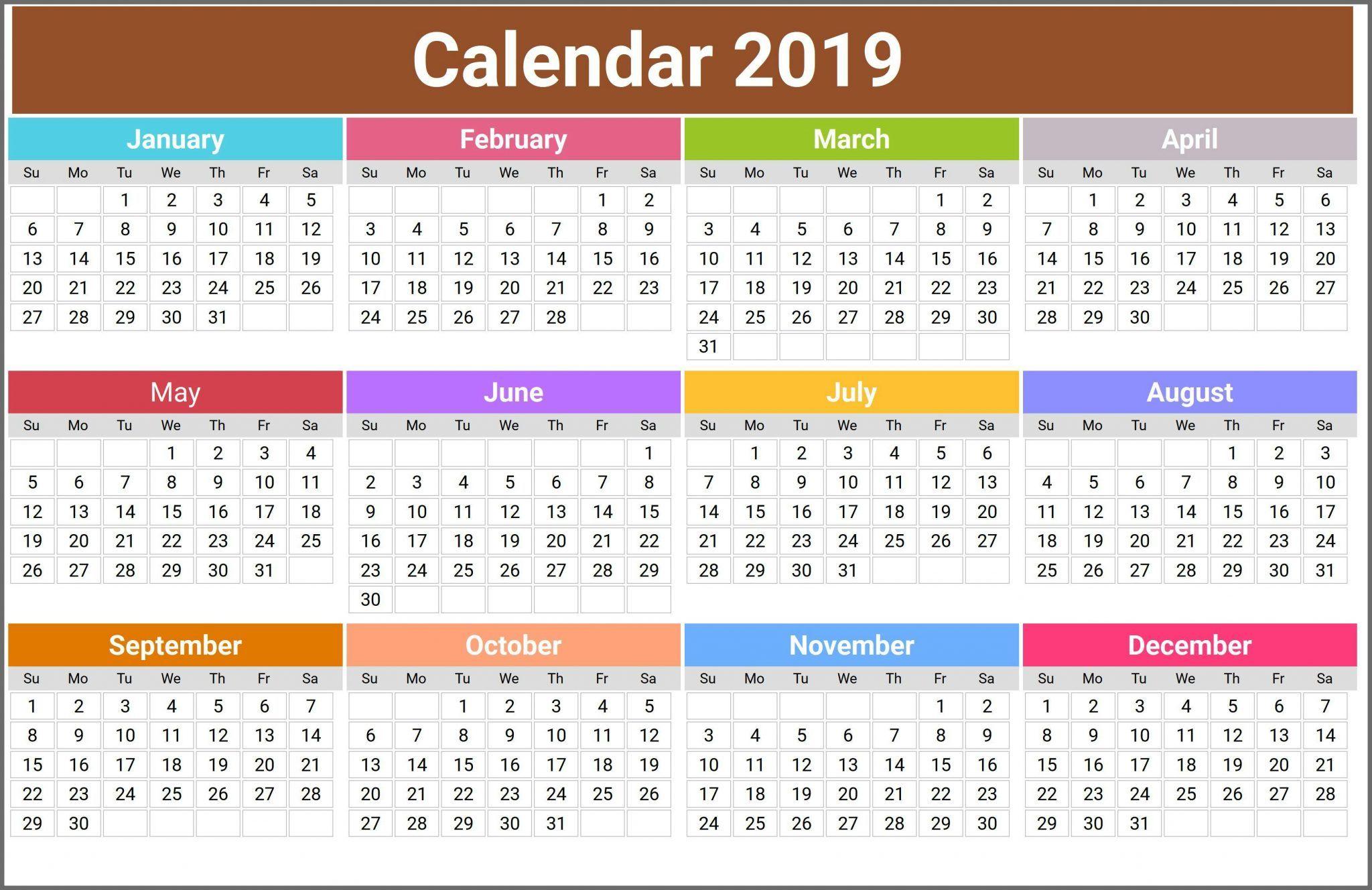 Printable Calendar 2019.