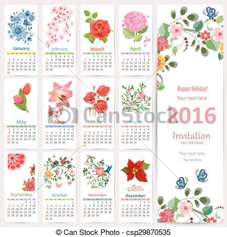 Vectors of Romantic Calendar for 2016 with beautiful flowers. Cute.