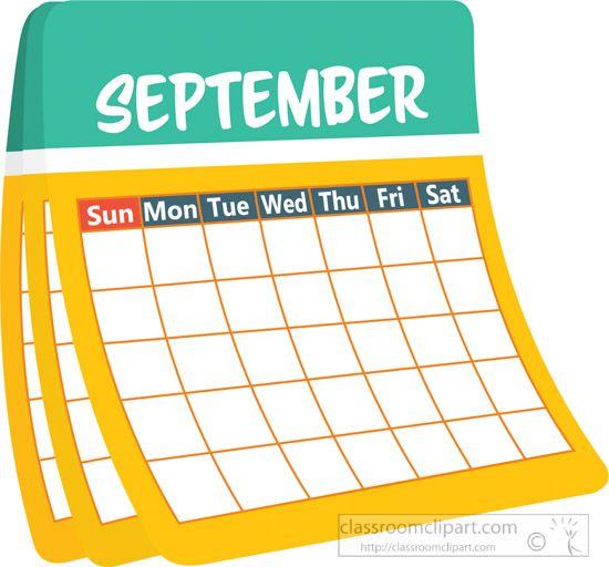 Monthly Calendar September Clipart.