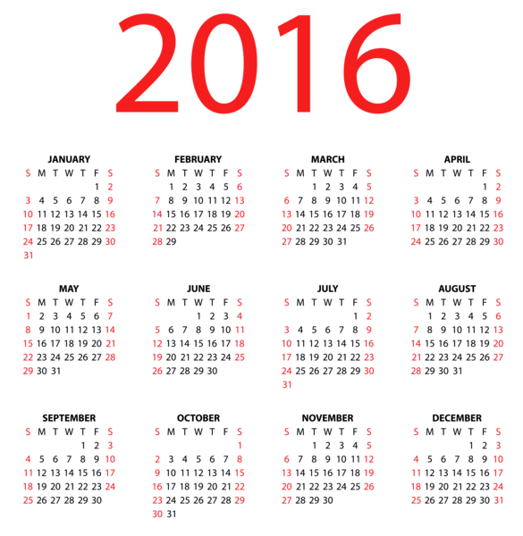 Transparent Calendar for 2016 PNG Clipart Image.