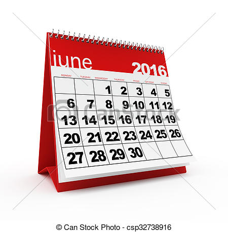 Clipart of June 2016 calendar.