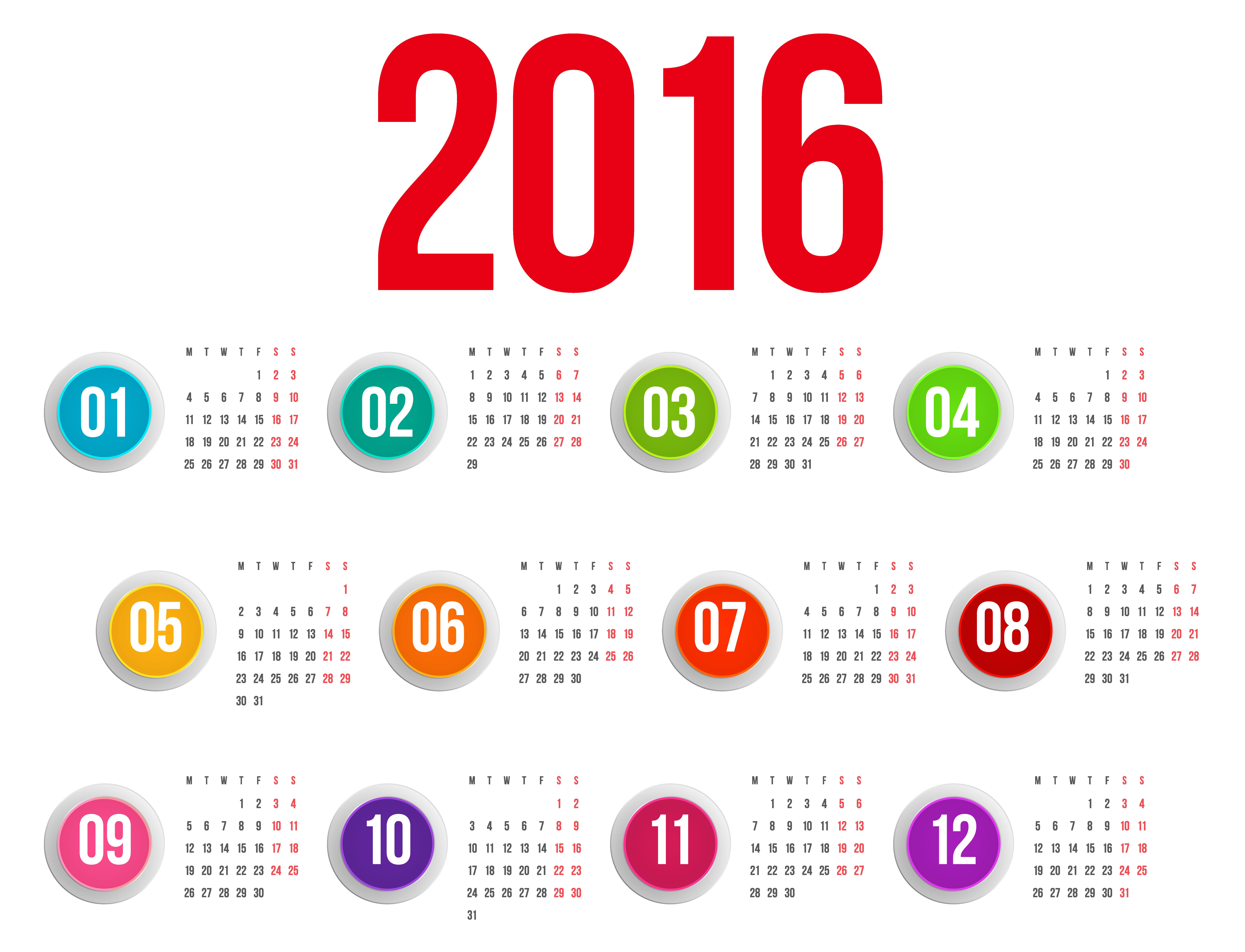 Free Clipart Calendar 2016.