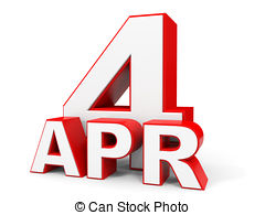 Calendar on white background 4 april Clipart and Stock.