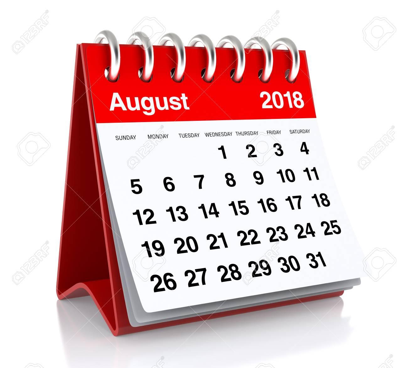 Calendar Clipart August 2018.