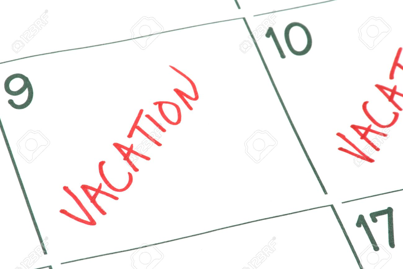 A Calendar With Vacation Days Marked Off. Stock Photo, Picture And.