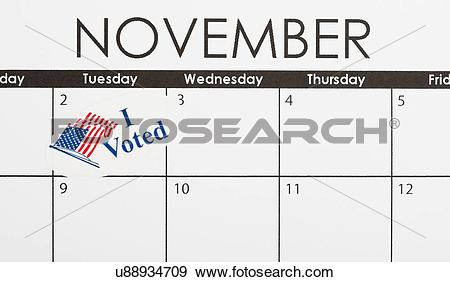 Stock Photograph of Calendar with election day marked u88934709.