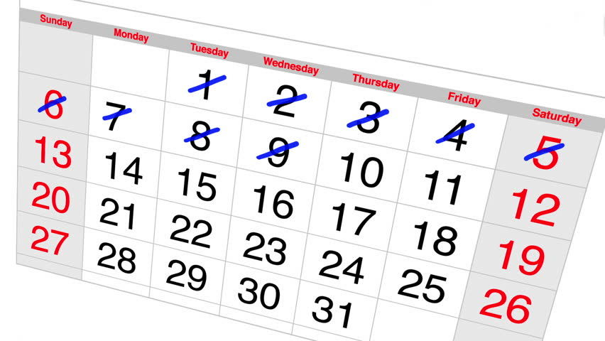 Countdown Calendar Stock Footage Video.