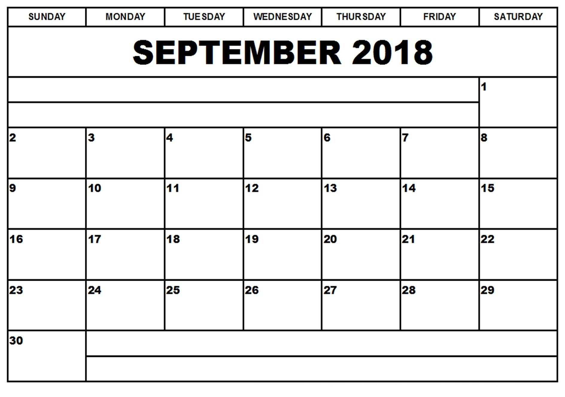 Blank September 2018 Clipart Calendar With Notes.