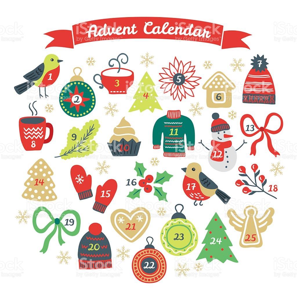 Christmas Advent Calendar With Bullfinch Ball Fir Tree Cookies.