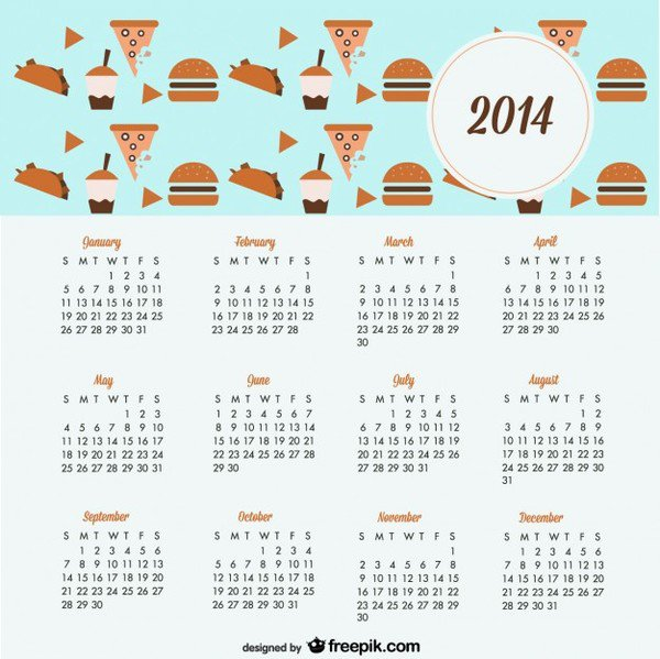 2014 Calendar Cookies and Sweets Design Free Vector.