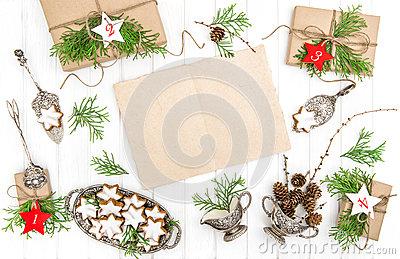 Advent Calendar, Christmas Cookies Stock Photo.