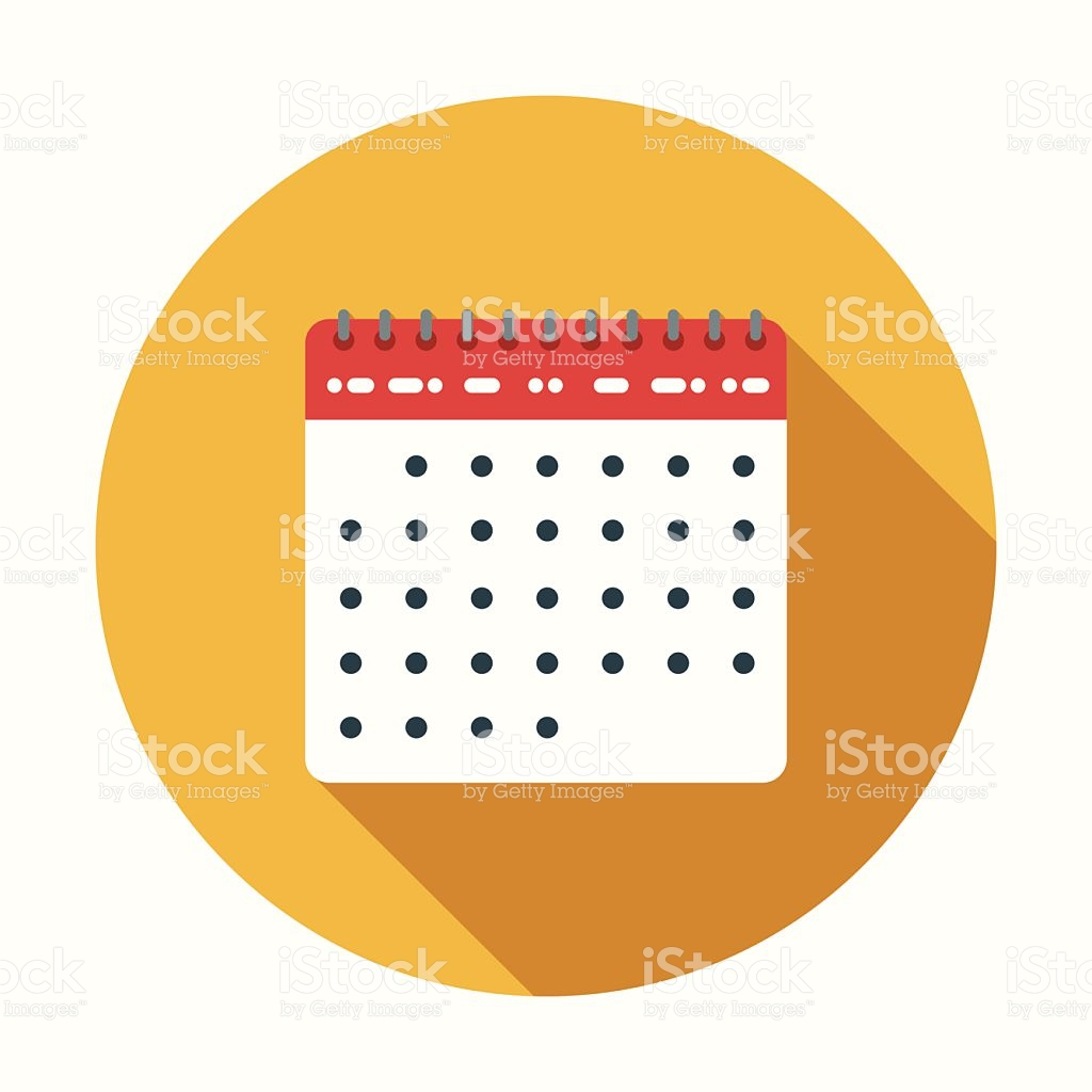 Flat Design Calendar Icon With Long Shadow stock vector art.