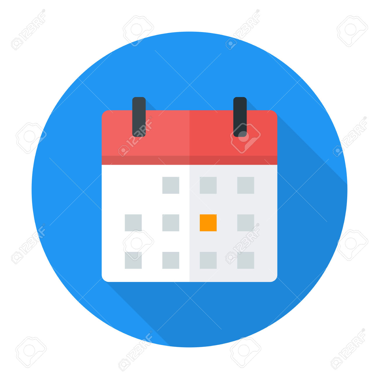 Calendar Flat Circle Icon. Flat Stylized Circle Icon With Long.