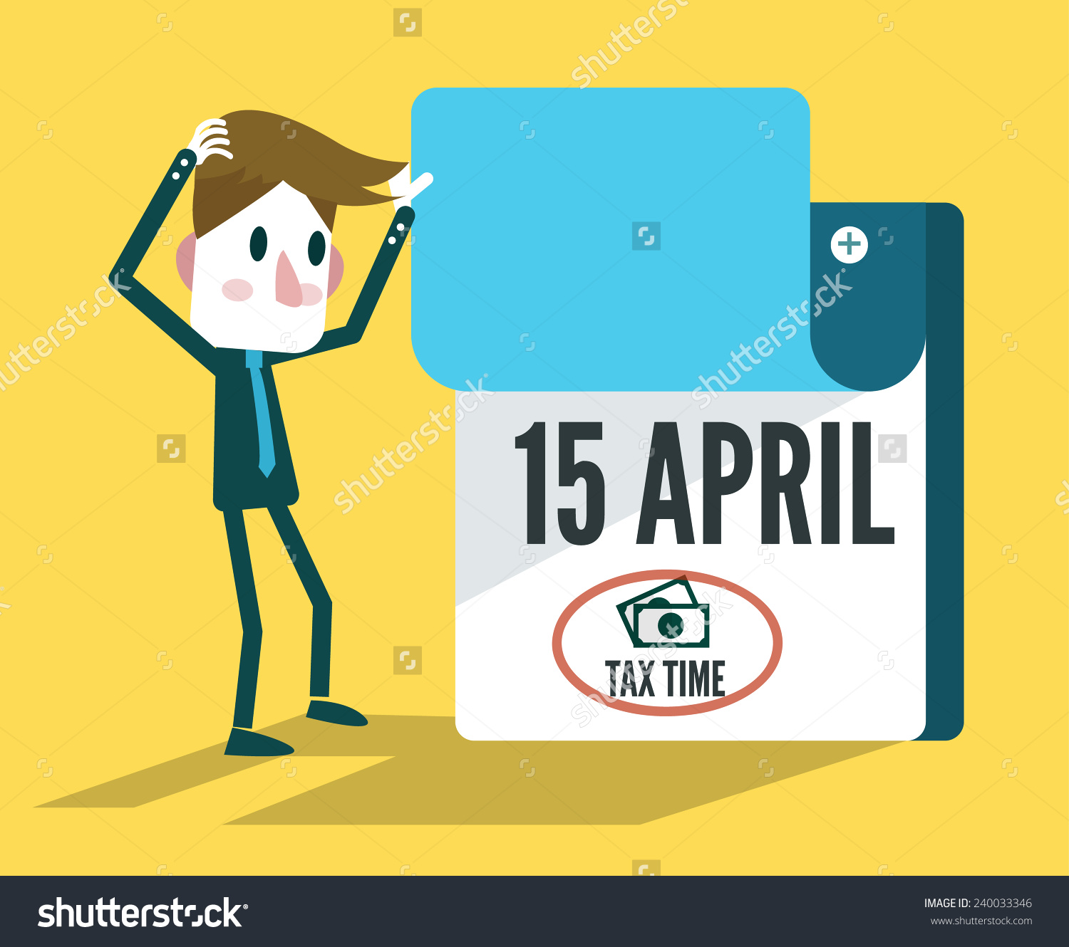 Tax Time Calendar Flat Design Elements Stock Vector 240033346.