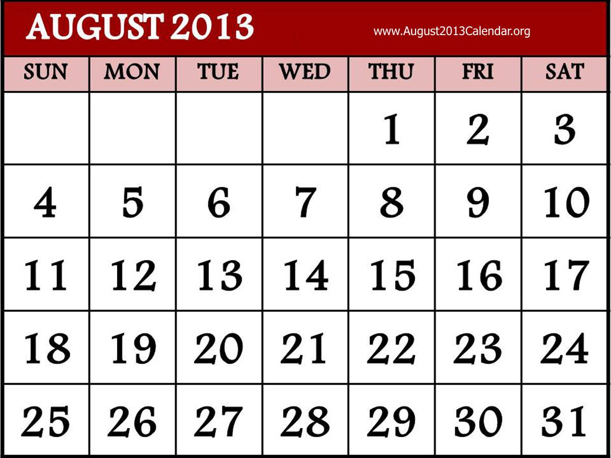 August Calendar Clipart.