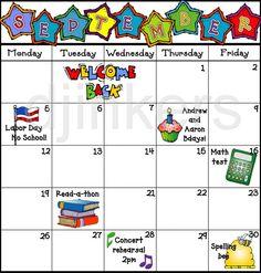 Calendar Clipart For Teachers.