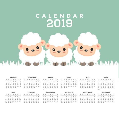 Calendar 2019 with cute sheep cartoon..
