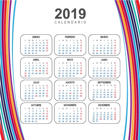 Vector Clipart: Calendario Moderno del 2019 en español.