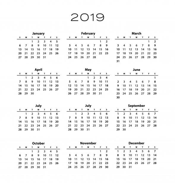 Modelo de calendário 2019 Foto stock gratuita.