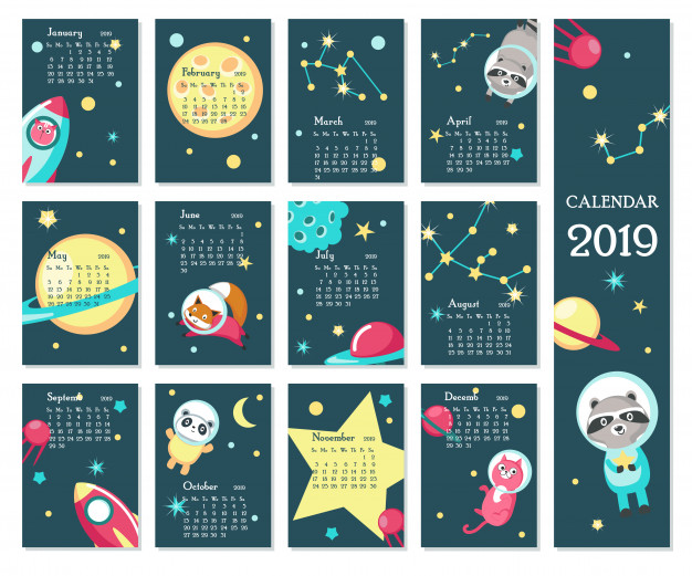 2019 calendar Vector.