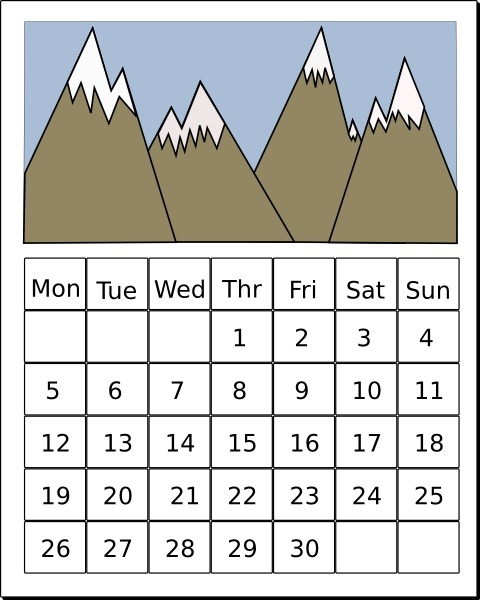 Calendar clip art Free vector in Open office drawing svg ( .svg.