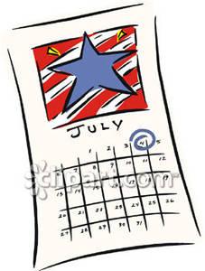July Calendar Clipart.