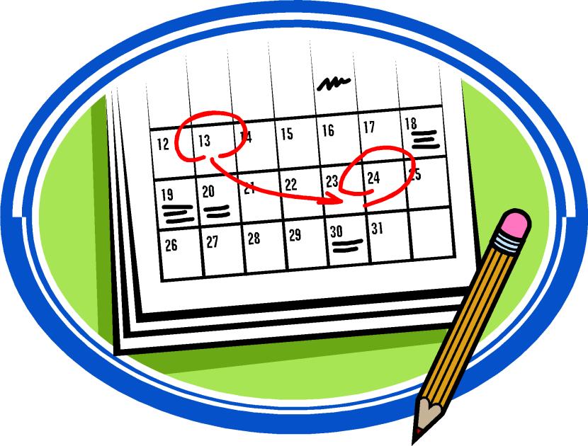 Study calendar clipart.