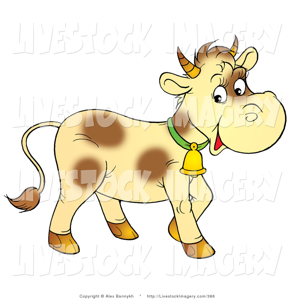 Clip Art of a Pale Yellow Calf with Brown Spots, Wearing a Bell by.