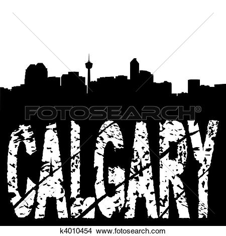 Drawings of Calgary skyline grunge text k4010454.