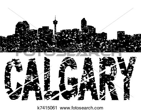 Clipart of Grunge Calgary skyline with text illustration k7415061.