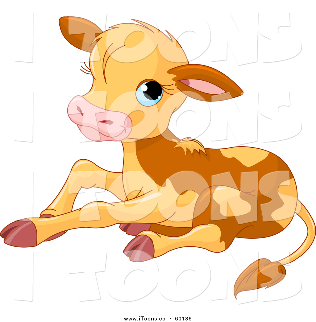 Vector Clip Art of a Cute Baby Calf Cow Resting by Pushkin.