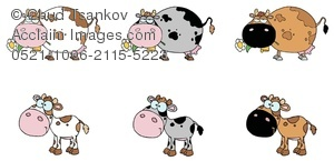 Clipart Image of Six Cows and Calves of Different Colors.