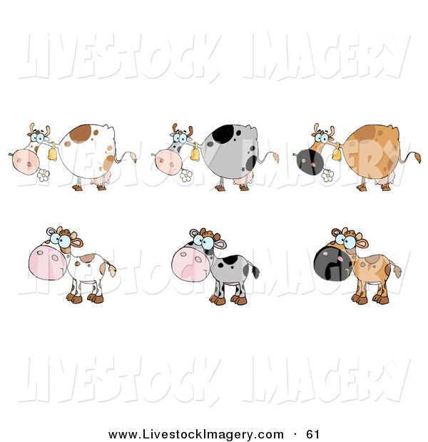 Clip Art of a Digital Collage of Three Cows and Three Cute Calfs.