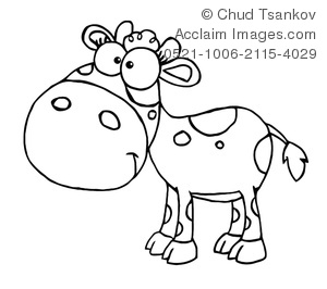 Clipart Image of Black and White Baby Calf.