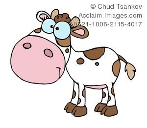Clipart Image of A Smiling Brown and White Calf.