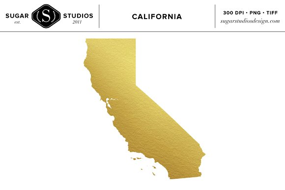 California State Gold Foil Clip Art ~ Objects on Creative Market.