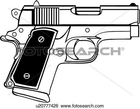 Clip Art of , gun, 45, caliber, pistol, weapon, u20777426.