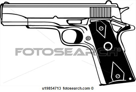 M1911 Colt 45 Clipart.