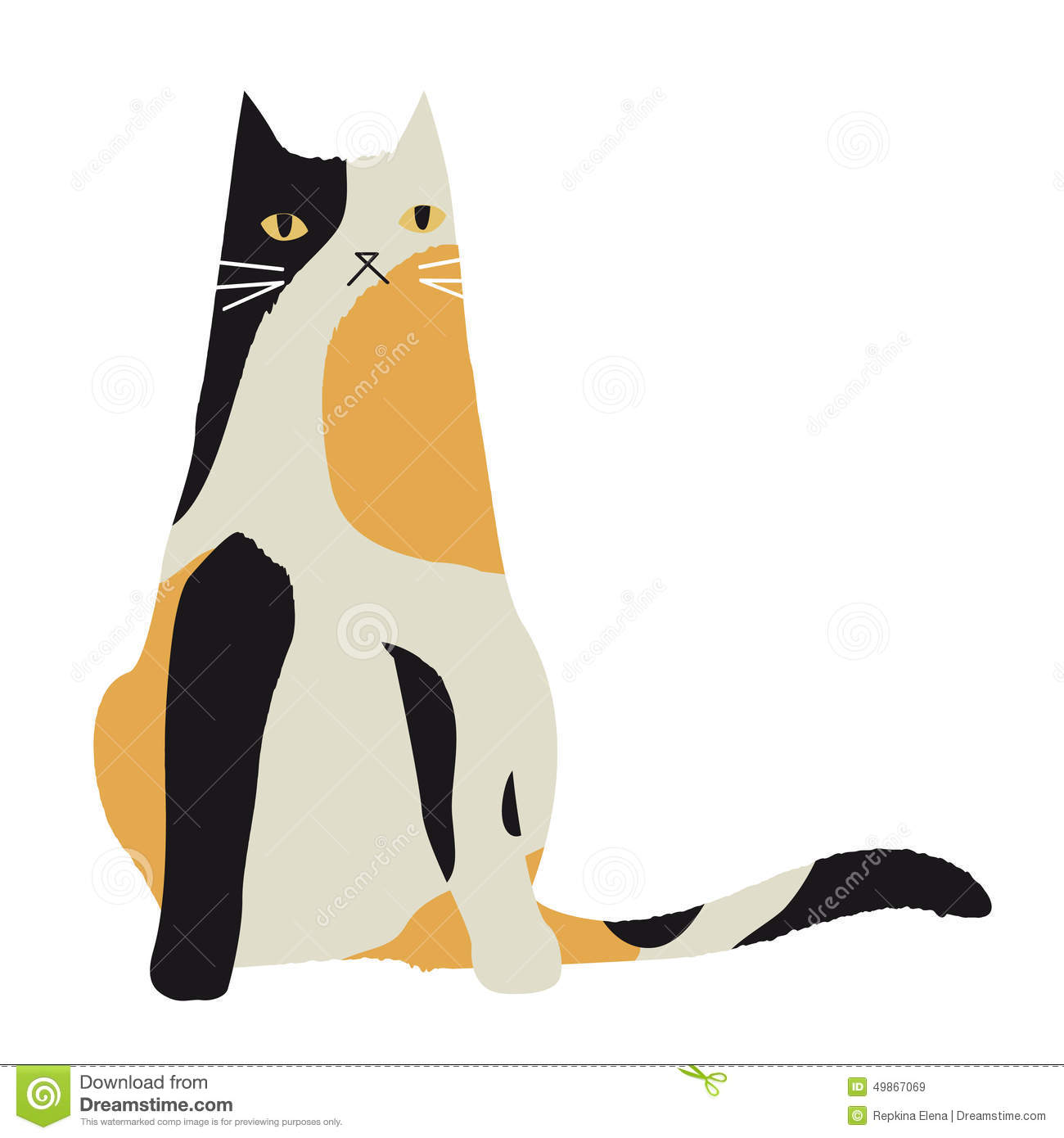 Calico cat love clipart.
