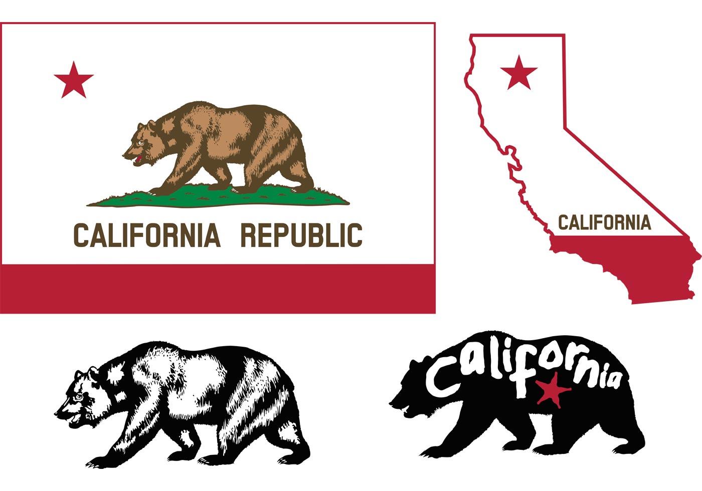 California Bear Free Vector Art.