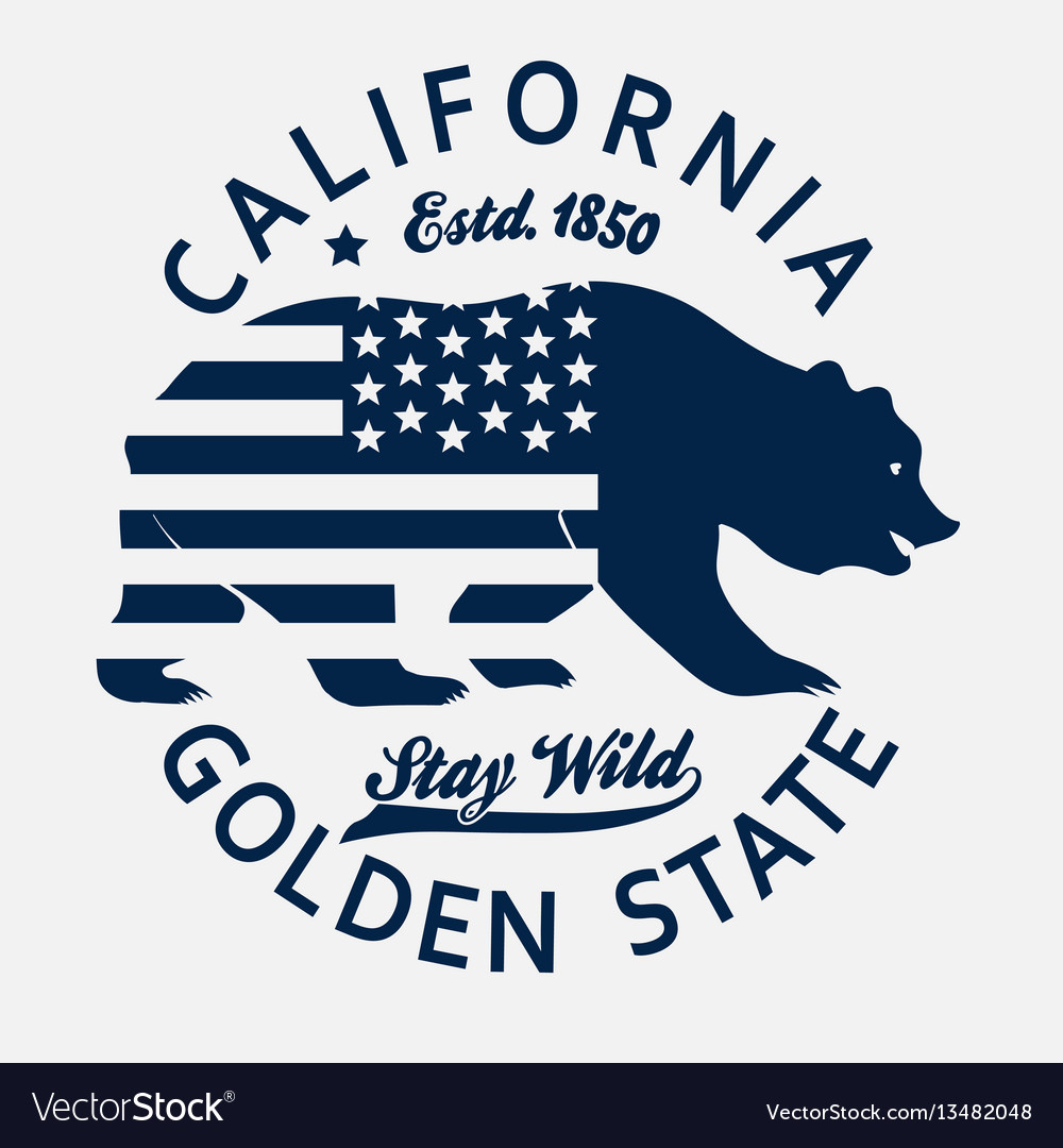 California typography print grizzly bear t.