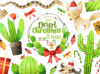 Watercolor Desert Christmas Clipart.