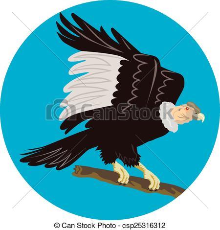 Vector Clip Art of California Condor Perching Branch Circle Retro.