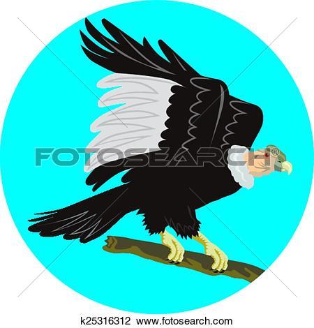 Clipart of California Condor Perching Branch Circle Retro.
