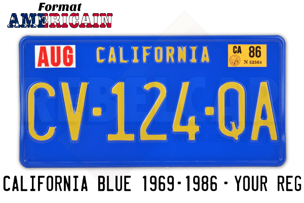 US California BLUE aluminum 300x150 mm license plate with BLUE BORDER and  CALIFORNIA EMBOSSED ON THE TOP Embossed to the text or to the registration.