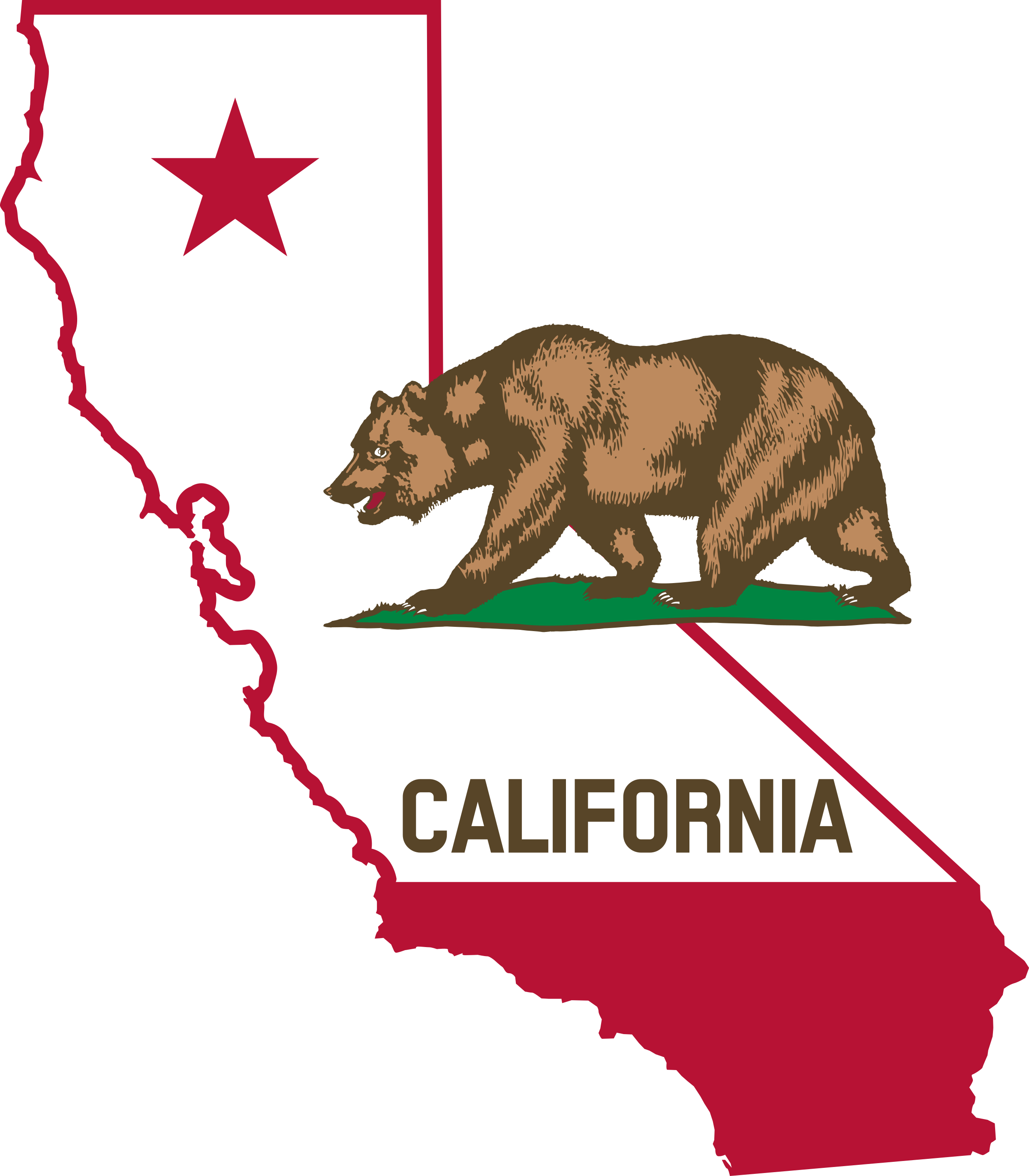 California Map Outline With Bear.