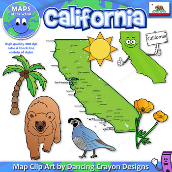 Clip Art of California State Symbols and Map Clipart.