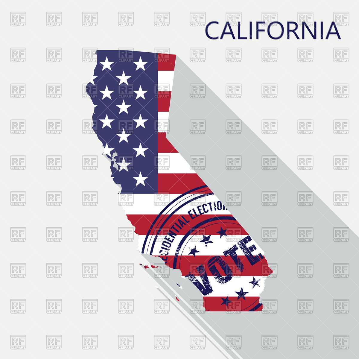 State of California map with flag and presidential day vote stamp Stock  Vector Image.