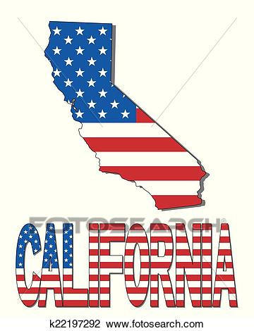 California map flag and text Clipart.